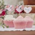 10 pics drapeau coeur fleurs pour cupcakes
