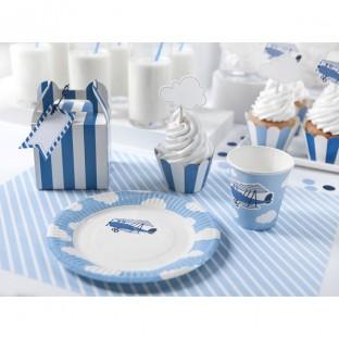 6 assiettes avion bleu nuage 18cm