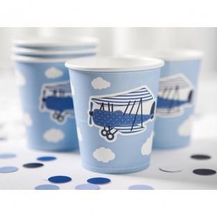 6 gobelets carton avion bleu nuage