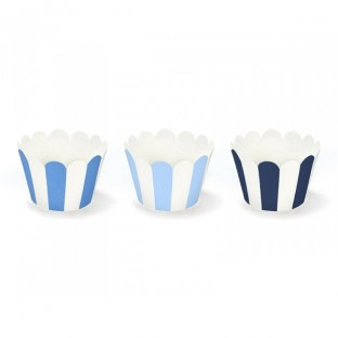 6 caissettes contour muffins cupcakes bleu rayures