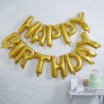 Guirlande ballons Happy Birthday lettres OR