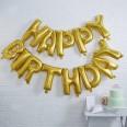 Guirlande ballons Happy Birthday lettres dorées