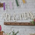 Guirlande en bois Mr & Mrs lettres bohème