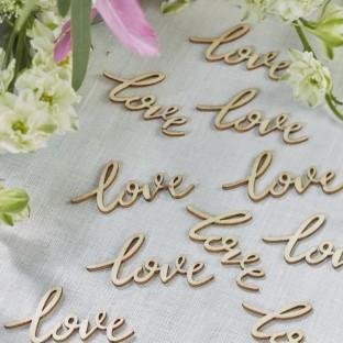 Confettis mariage love en bois par 25