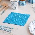 20 serviettes bleue étoile blanche