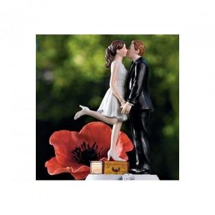 Figurine Les mariés en voyage valise