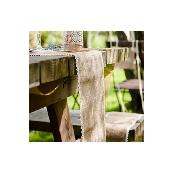 chemin de table toile de jute dentelle 5m rustique eco chic creative emotions. Black Bedroom Furniture Sets. Home Design Ideas