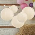 5 lanternes boules papier ivoire
