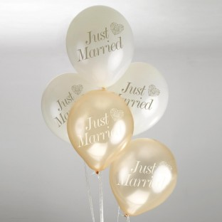 8 ballons mariage just married ivoire & or