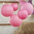 5 lanternes boules papier rose fuchsia