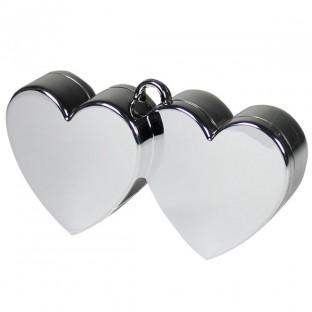 Poids pour ballons double coeur gris argent