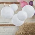 5 lanternes lampion boules papier blanc
