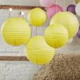 5 lanternes boules lampions jaune