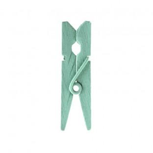 24 mini pinces en bois vert menthe