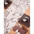 Chemin de table thème voyage carte vintage 3M lin