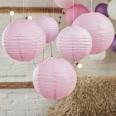 5 lanternes boules papier rose pâle