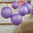 5 lanternes boules papier mauve violet
