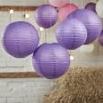 5 lanternes boules papier violet