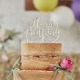 Cake topper Happy Birthday en bois
