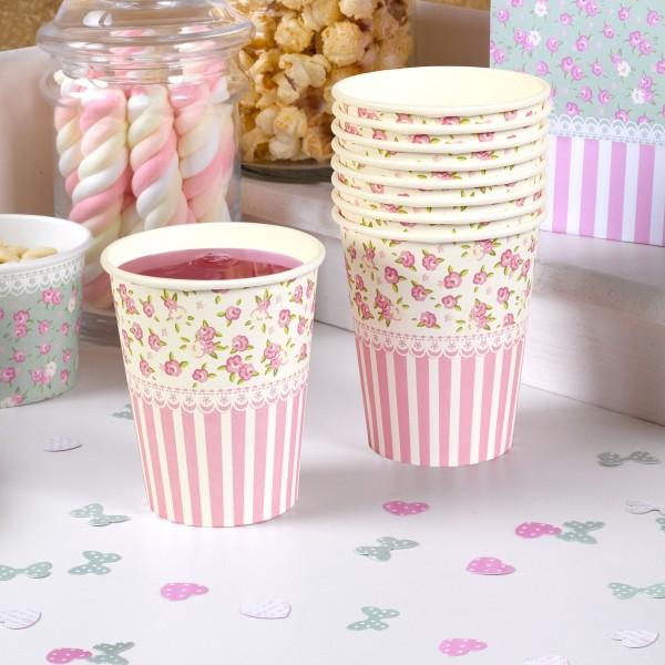 gobelet papier liberty fleurettes rose ivoire vaisselle jetable creative emotions. Black Bedroom Furniture Sets. Home Design Ideas