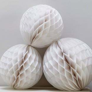 3 boules alvéolées en papier blanc