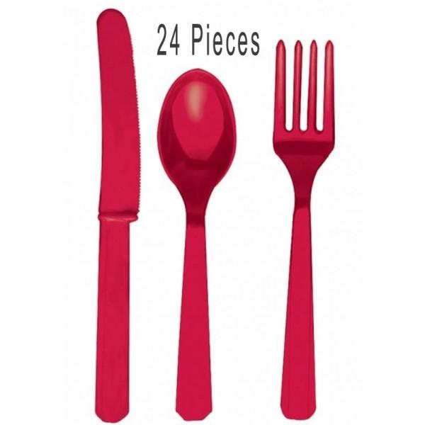 24 couverts en plastique rouge couverts en plastique. Black Bedroom Furniture Sets. Home Design Ideas