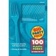 100 fourchettes bleu turquoise en plastique