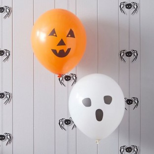 Halloween 10 ballons blanc et orange