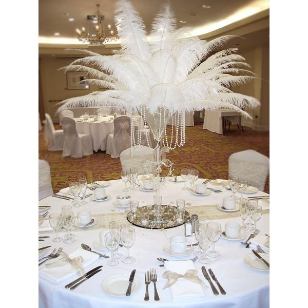 Location plumes d 39 autruche blanche centre de table - Deco de table noir et blanc pas cher ...