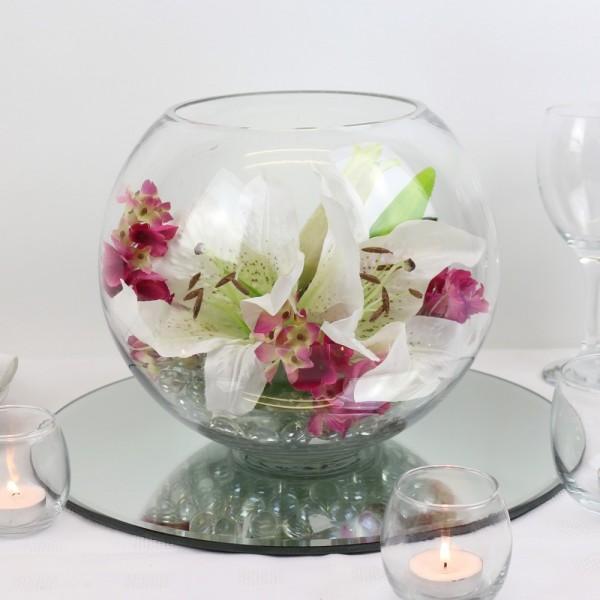 Location vase boule d30cm centre de table mariage centre - Vase en plastique pour centre de table ...