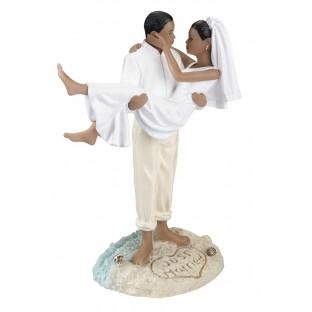 Figurine mariés noirs île Just Married