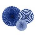 3 rosaces bleu marine en papier deco a suspendre