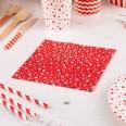 20 serviettes blanches et et rouge étoiles