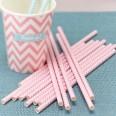 25 pailles papier chevron rose pale