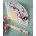 Cherry blossom design silk folding fan favors