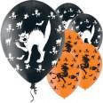 Halloween 6 ballons chats et sorcières