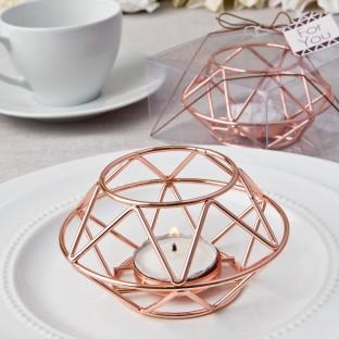 Bougeoir géométique cuivré or rose