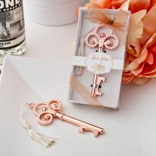 Clé vintage cuivrée or rose décapsuleur