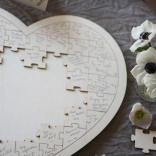 Livre d'or grand puzzle coeur en bois