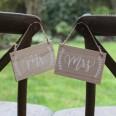 2 pancartes en bois Mr & Mrs mariage