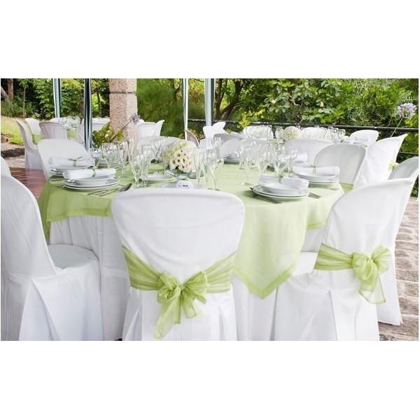 Housse de chaise en tissu blanc mariage housses et for Housse de chaise en tissu