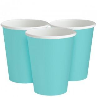 20 gobelets carton bleu aqua pastel