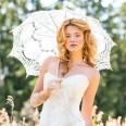 Grande ombrelle de mariage dentelle blanc 96cm