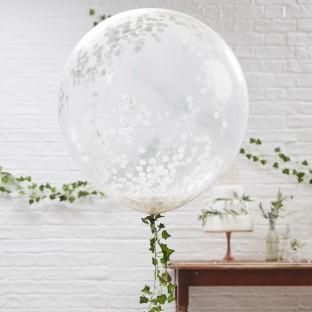 3 ballons ronds géants transparents confettis blanc