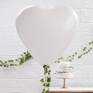 3 ballons coeur géant blanc latex 90cm