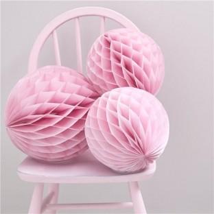 """3 boules alvéolées rose pâle """"honeycomb"""""""