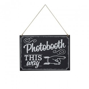 Panneau photobooth this way effet ardoise