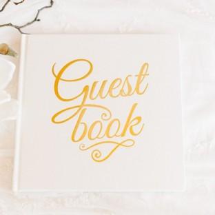 Livre d'or ivoire et or Guest Book