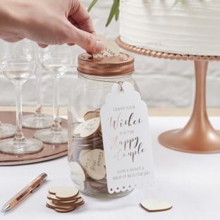 Livre d'or bocal pot tirelire verre cuivré coeur bois