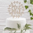 Cake topper bois mariage Mr & Mrs couronne
